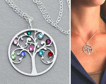 Family Tree Necklace • Sterling Silver Family Tree Jewelry • Family Tree Gift • Family Necklace Grandmother Mom Birthstone BB_17