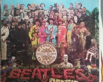Beatles, Sgt. Pepper's Lonely Hearts Club Band, Vintage Record Album, Vinyl LP, Classic Pop Rock Music, British Rock Band, Insert Included