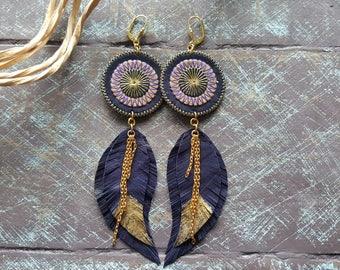 Purple leather earrings. Feather earrings. Boho earrings. Bohemian earrings. Long leather earrings. Tribal earrings. Mandala earrings.