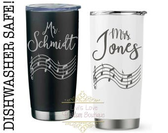 Piano teacher gift - Music Teacher Mug - Guitar Teacher Gift - Personalized Coffee Thermos - Travel Mug - Dishwasher Safe Stainless Steel