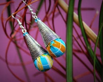 Drop earrings dangle metal cone and Kente cloth