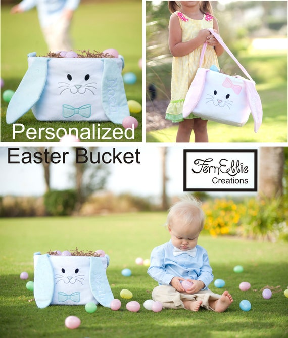 Bunny Easter Bucket, Hippity Hoppity Easter Bucket, Personalized Easter Basket, Monogrammed Basket