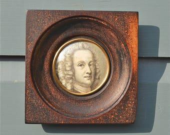 Original antique Victorian framed miniature engraved portrait Baron Ludwig Holberg Danish poet and dramatist