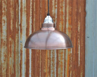 Aged copper Detroit hanging pendant light shade with polished fitting B22 bulb holder