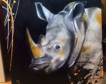 Rhino - Oil painting