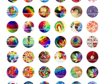 Color Rainbow 54 designs/images for cabochons 10mm round
