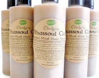 Rhassoul Clay Mud Wash/Masque w/ 8 Herbal Extracts, No Poo-Shampoo, Clarifying, 2 in 1 Conditioning  Cleanser 16 oz W/O ESSENTIAL OIL