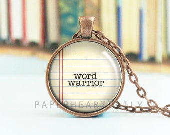 Word Warrior - Writer Quote Charm - Writer Pendant - Reader Pendant - Librarian Gift - Necklace for Readers - Book Jewelry -  (B2234)
