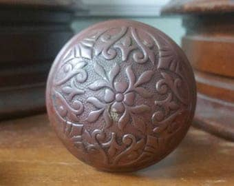 Antique Doorknob, Vintage Doorknob, Floral Doorknob, Vintage Cast  Doorknob, 1 Knob, Red Doorknob