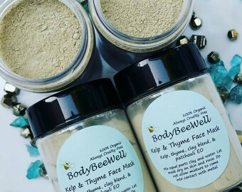 Organic Face Mask, Organic Skincare, Facial Care, Kelp & Thyme, Clay Mask, Acne, Cosmetics, Cruelty-Free Beauty!