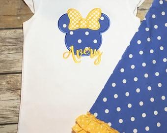 Mouse Applique Flutter Shirt M2M Matilda Jane Day Camp Shorties