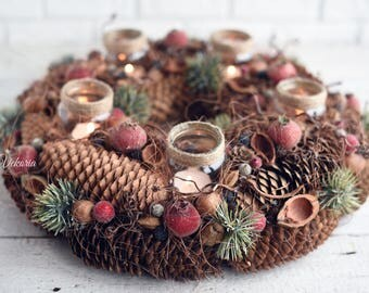 Christmas Candlestick Arrangement Cone, Christmas Table decoration, Natural cones arrangement, Holiday winter decorations,Brown table wreath