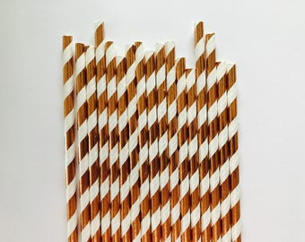 Rose gold paper straws/ set of 25/ rose gold decorations