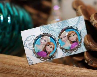Anna and ELSA earrings silver 12 mm diameter for frozen fans