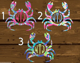Crab, Monogram, Monogram Decal, Lilly Monogram, Monograms, Custom Monogram, Preppy Monogram, Lilly Pulitzer, Lilly Pulitzer Decal