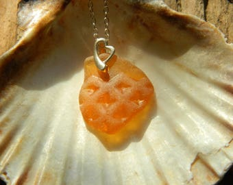Sterling silver patterned sea glass necklace with heart bail