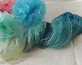 Mermaid hair clip in extensions set, human remy hair, aqua blue, mint, pastel, rainbow, 20 inches long, unicorn, rainbow