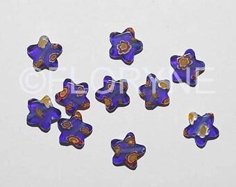 Set of 10 Star Blue Millefiori glass beads