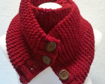 double scarf with buttons carmine red wool with shiny threads