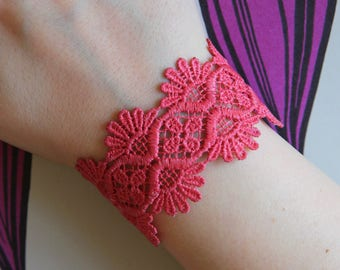 Lace cuff bracelet! Choose your color! Coral lace bracelet. Gift for her, gift for woman.