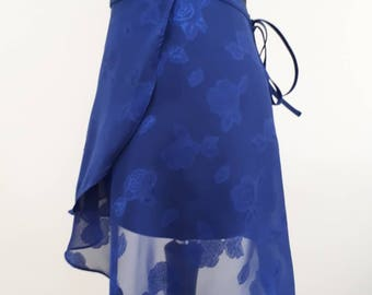 Sapphire blue roses - Ballet wrap skirt, made to order