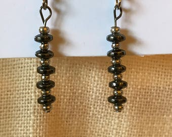 Hematite and Silver Dangle Earrings