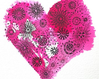Pink ink heart with flowers illustration . Original and signed. 18cm x 25cm. Unframed