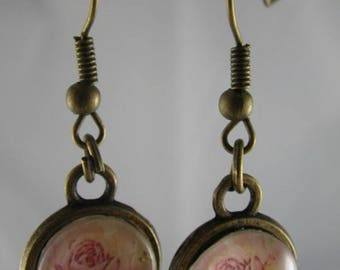 Boucles029 - Earrings bronze and pink flower cabochon