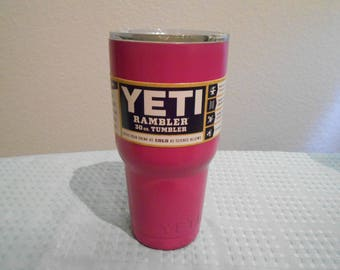 "YETI/ 30 Oz/  Raspberry Pink Glossy/Lilly Pulitzer Inspired ""Roses"" Custom Wrap Or Original Silver Stainless/Rambler Mug/New In Box/Gift!!"