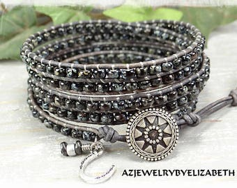 Beaded Wrap Bracelet/ Men's Wrap Bracelet/ Seed Bead Leather Wrap Bracelet/ Seed Bead Leather Bracelet/ Boho Wrap Bracelet/ Men's Bracelet.