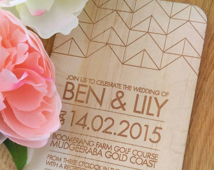 Wood Wedding invitation, geometric design.  Laser Etched Wooden Invitation. A6 size - SAMPLE ONLY