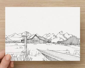 Ink sketch of Mormon Row in Grand Teton National Park, Wyoming - Drawing, Art, Architecture, Landscape, Mountains, Pen and Ink, 5x7, 8x10