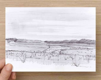 Rio Grande River and Valley in Texas near Big Bend National Park - Landscape, Mexico Border, Desert, Pencil Drawing, Sketch, Art, 5x7, 8x10