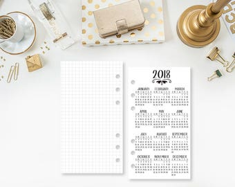 Personal 2018 Year at Glance Personal Wide - printed planner insert - year in review - yearly planner insert