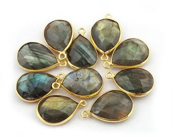 Valentine Day 10 PCS Labradorite 24k Gold Plated Single Bail Pendant - Labradorite Pear Drop Faceted Pendant 17mmx9mm-22mmx13mm BC668