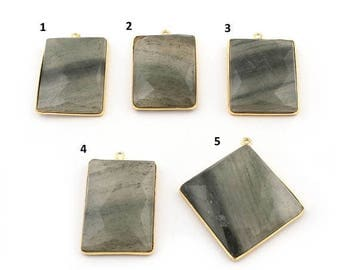 Valentine Day 1 PCS Labradorite 24k Gold Plated Faceted Rectangle Shape Single Bail Pendant 35mmx25mm-37mmx24mm Bc-658