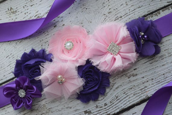 Maternity sash belt,purple pink Sash , sash,  flower Belt, maternity sash, baby shower gift