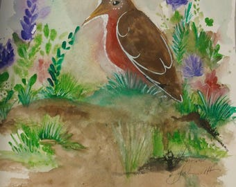 Original watercolor painting, bird painting original art. Robin.