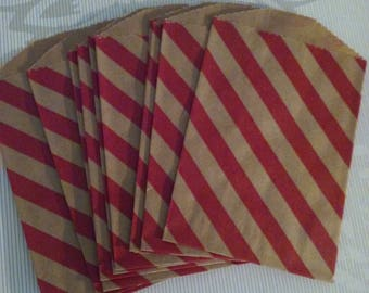 Kraft bag with red strip itty bitty bags small bags 10 bags