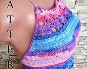 Crochet top PATTERN High neck open back women's top Bohemian bikini top Pattern Beach clothing Summer lace boho crochet crop top Pattern