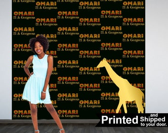 African Safari Party Personalized Photo Backdrop -Safari Animals Step and Repeat Photo Backdrop- Birthday Photo Booth Backdrop