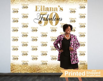 Fabulous 50 Personalized Photo Backdrop -Gold Photo Backdrop- 50th Birthday Photo Backdrop - Printed Photo Booth Backdrop, Vinyl Backdrop