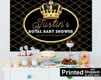 Royal Baby Shower Personalized Photo Backdrop - Baby Shower Cake Table Backdrop - Little Prince First Birthday, Black Photo Booth Backdrop
