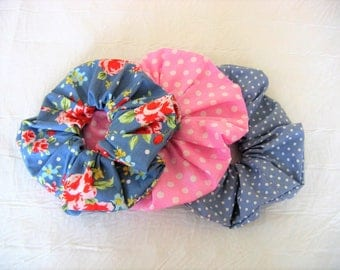 Scrunchie/Hair scrunchie/Retro hair scrunchie/polka dot scrunchie/pink scrunchie/blue grey scrunchie/floral scrunchie/retro hair accessory