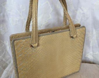 1960s pale lemon snakeskin handbag