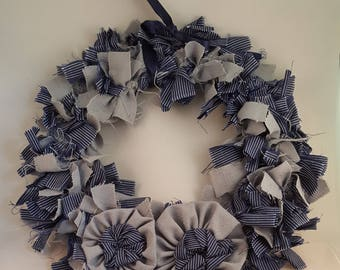 Blue Scrap Fabric Rag Wreath
