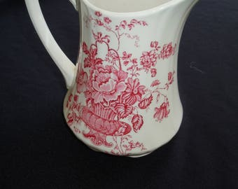 Alfred Meakin, Pink/ Red Transferware Jug,  CHARLOTTE, Pitcher,  Ironstone, Serving, English