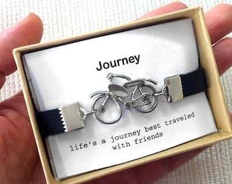 Vacation-Sale- Bicycle mens leather bracelet, Bicycle Bangle, Friendship Bracelet,  Bike Jewelry, Leather Sports Cuff, Cycling Bracelet, Gif