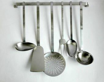 Vintage Kitchen Utensils Wall Rack, Sola Holland, Hammered Decoration, Dutch Design, 1950's