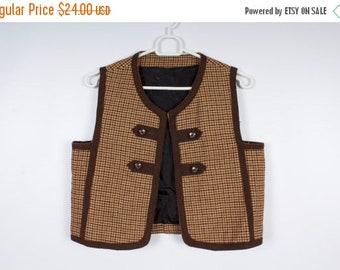 ON SALE Brown Folksy Women Vest Hound Pattern Vest Checkered Country Style Vest